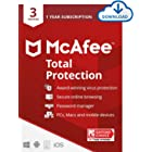 McAfee Total Protection 2021, 3 Device Antivirus Internet Security Software, Password Manager, Privacy, 1 Year Subscription -