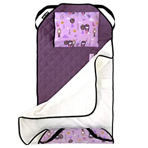 Urban Infant Tot Cot All-in-One Modern Preschool/Daycare Nap Mat with Washable Pillow and Elastic Straps - Violet