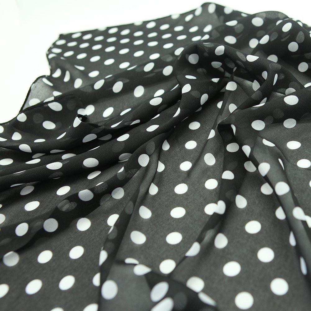 MissShorthair 50s Chiffon Scarf Sheer Square Neck Head Scarfs for Women (One Size, Black+Black dot) by MissShorthair (Image #3)