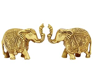 ITOS365 Brass Trunk Up Elephant Statues Set of 2 - Showpiece Metal Statue - Lucky Figurine- Home Décor Gifts Item