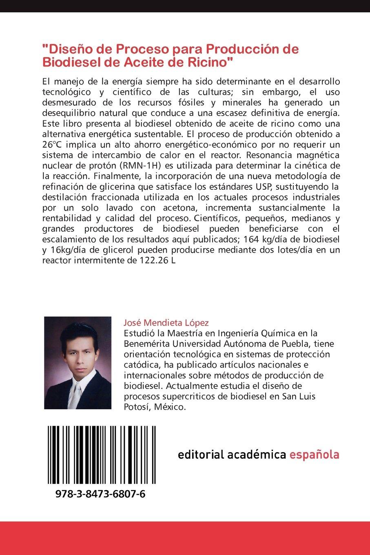Diseño de Proceso para Producción de Biodiesel de Aceite de Ricino: Amazon.es: Mendieta López José: Libros