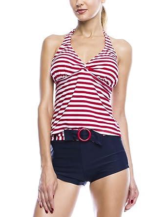 89d7dfb4f98e8 Amazon.com  2 Piece Halter Tankini   Boy Shorts Swimsuit Set (Small ...