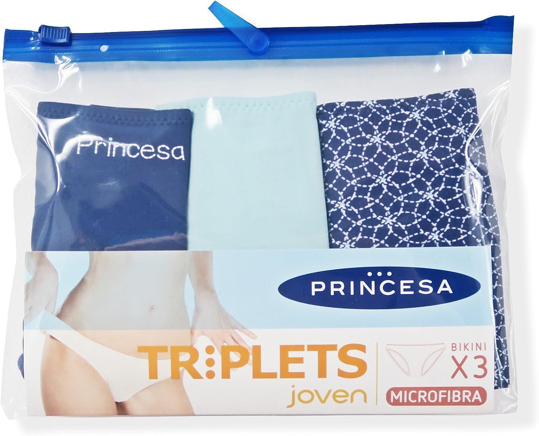 Braguitas Princesa Triplets Joven y Mujer Pack de 3 Bikinis (L, Ondas Marinas): Amazon.es: Ropa y accesorios
