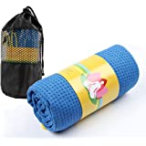 Winthome Non Slip Yoga Mat Towels with Mesh Carrying Bag, Hot Yoga Towel Extra Long 61 x 183cm
