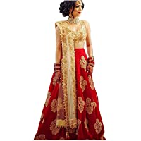 Limedeal Women's Taffeta Silk Embroidered Lehenga Choli (Red Diamond, Free Size)