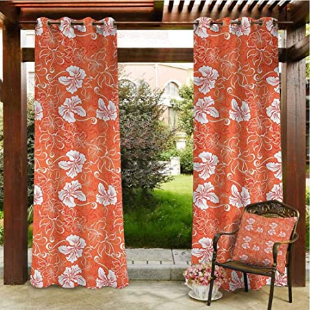 Amazon Com Orange Waterproof Patio Door Panel Indoor Outdoor Waterproof Curtains Grommet Curtain Blackout For Pavilion Gazebo Porch Decor 120x96 Inch Orange White Garden Outdoor