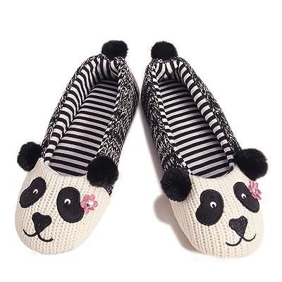 Womens Ballerina Indoor Slippers Winter Soft Animal Panda Slipper Lightweight Home Shoes | Slippers