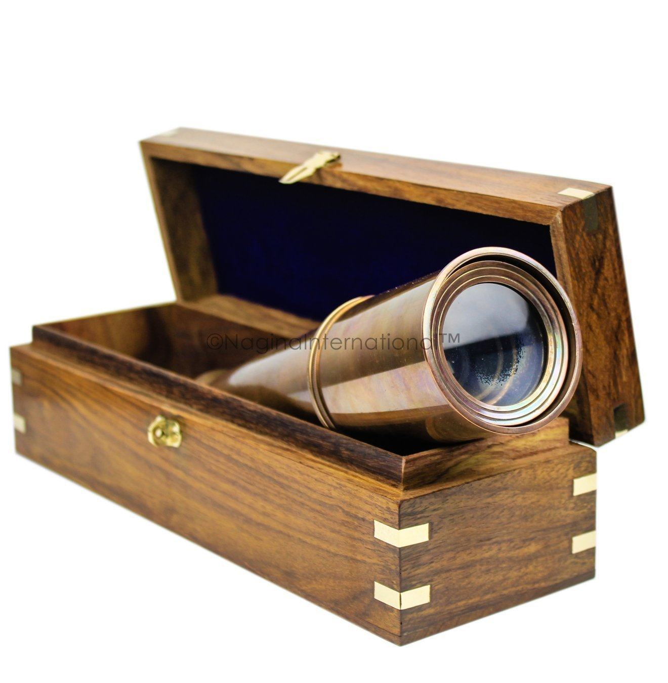 Nagina International Deluxe Nautical Pirate Boat Brass Spyglass with Functional Optical Zooms & Genuine Rosewood Storing Case Anchor Emblem Inlaid 32 Inches, Antique Brass (W/Box) by Nagina International (Image #6)