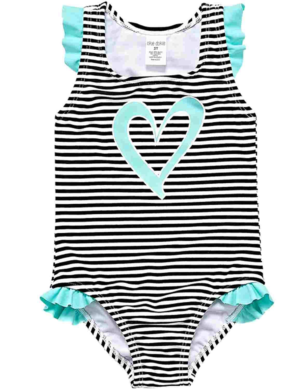 Catjack Infant Toddler Girls Black /& White Stripe Mint Green Heart 1-Piece Swimming Suit