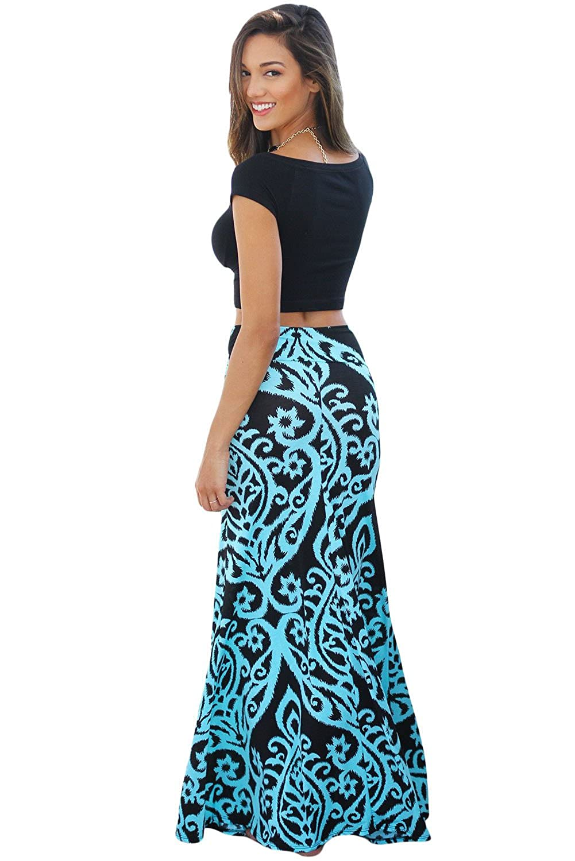 Women\'s Long Maxi Skirt Casual Dresses Tendril Print Boho Holiday ...