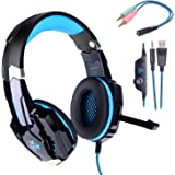 Gaming headset PS4,Hunterspider PC headset Over-Ear Headphone Stereo with Mic LED Lighting for Laptop Mac Nintendo Switch New Xbox One with 3.5mm Splitter Cable Noise Cancelling & Volume Control