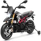 HONEY JOY Ride on Motorcycle, 12V Mini Electric Dirt Bike Toy w/ Training Wheels, Headlight & Music, Foot Pedal, Spring…