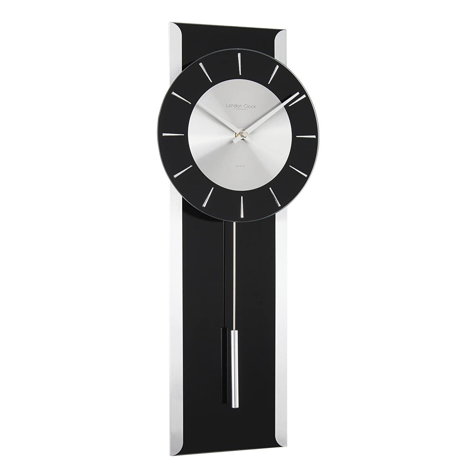 London clock 23128 contemporary black glass pendulum wall london clock 23128 contemporary black glass pendulum wall clock amazon kitchen home amipublicfo Choice Image