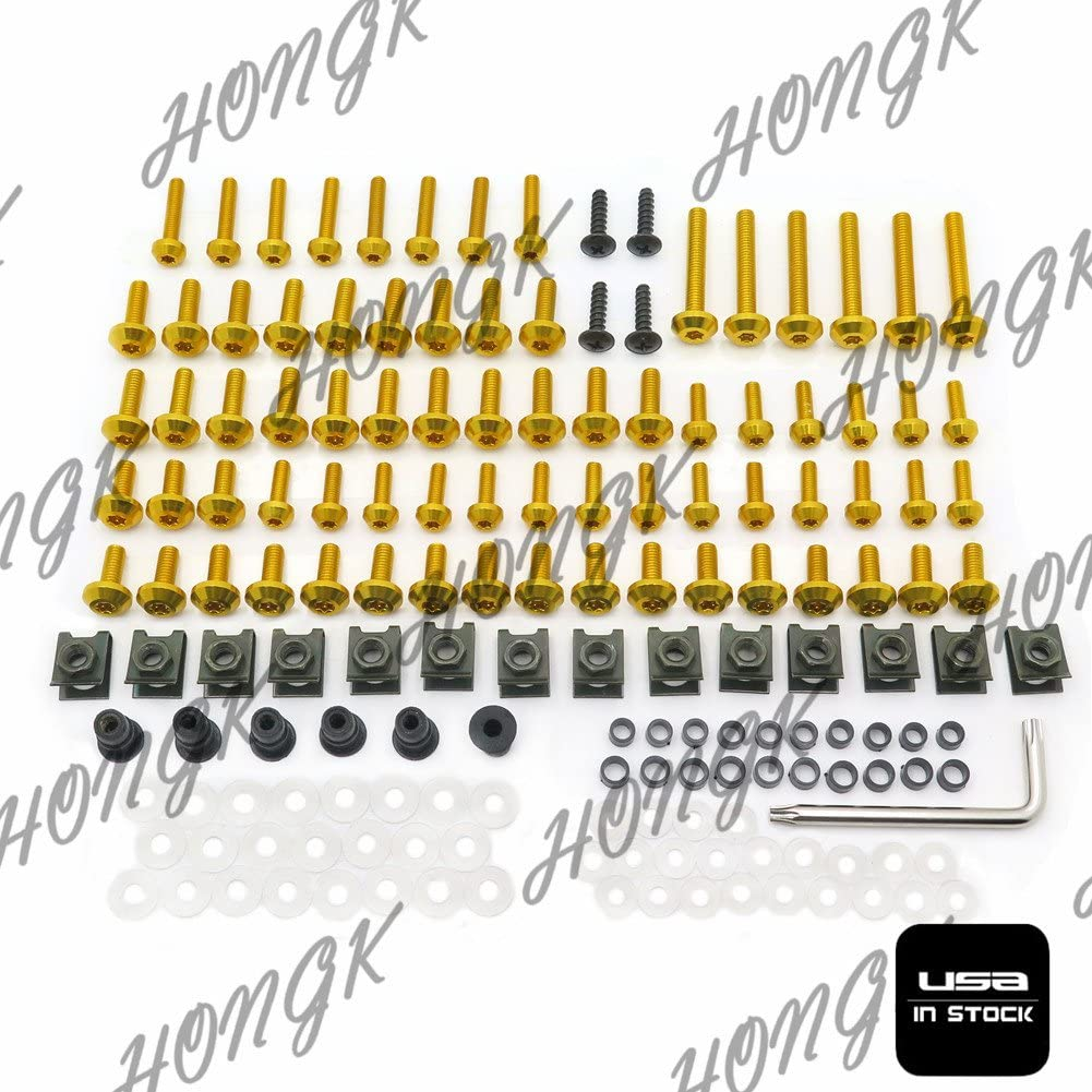 B0734CN8M2 HONGK Black Fairing Bolt Kit body screws Compatible with Suzuki GSX-R 1000 2005 2006 GSXR CNC