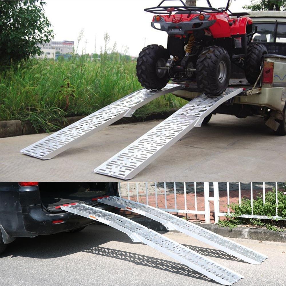 2pcs Topeakmart Folding Motorcycle Ramp//Truck Ramps//ATV Ramp//Aluminum Ramps//Loading Ramps//Pickup Truck Ramps for Trailers//Pickup Trucks//Lawn Mower 7.5ft