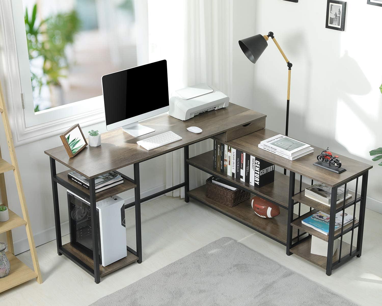 Sedeta L Shaped Computer Desk, 59 Inch Corner Computer Desk with Storage Shelves and Drawer, Study Writing Desk Table Workstation for Home Office, Vintage Walnut