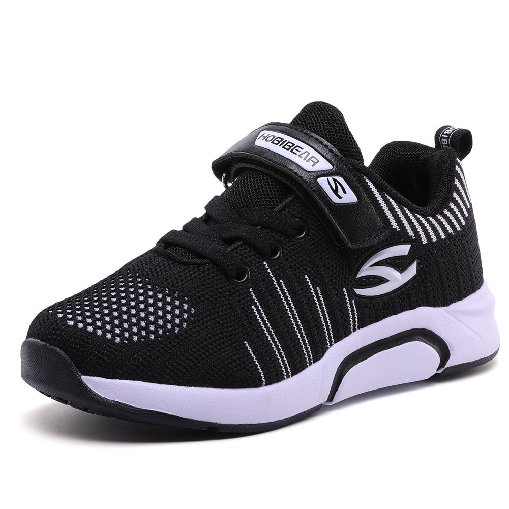 S-BAO Kids Slip-On Athletic Sneakers Girls Breathable Outdoor Running Shoes(S-Black)
