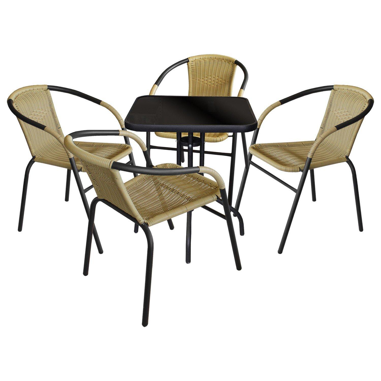 5tlg bistro balkonm bel set gartentisch 60x60cm schwarze undurchsichtige tischglasplatte. Black Bedroom Furniture Sets. Home Design Ideas
