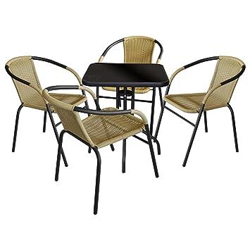 5 piezas. Bistro Juego de muebles de jardín - Mesa de jardín, 60 x ...