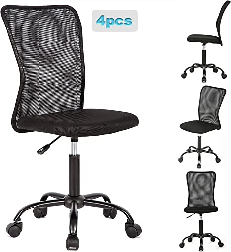 Office Chair Desk Chair Mesh Computer Chair with Lumbar Support No Arms Swivel Rolling Executive Chair for Back Pain,Black 4 Pack
