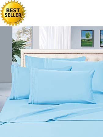 1200 Thread Count KING Size 4pc Egyptian Bed Sheet Set, Deep Pocket, Teal
