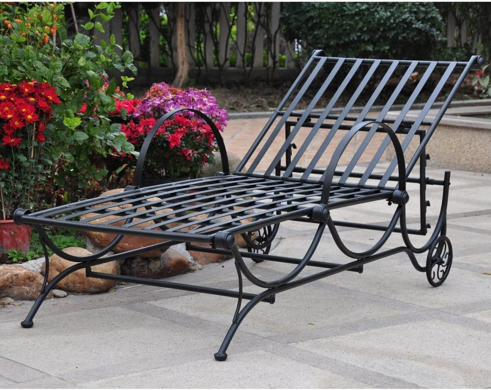 International Caravan Mandalay Metal Patio Chaise Lounge in Bronze