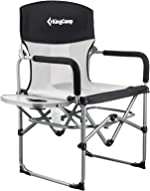 KingCamp Heavy Duty Compact Camping Folding Mesh Chair with Side Table