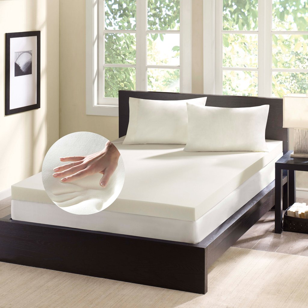 Comfort Classics 4 Inch Thick Flat Memory Foam Mattress Topper - Beige - Twin