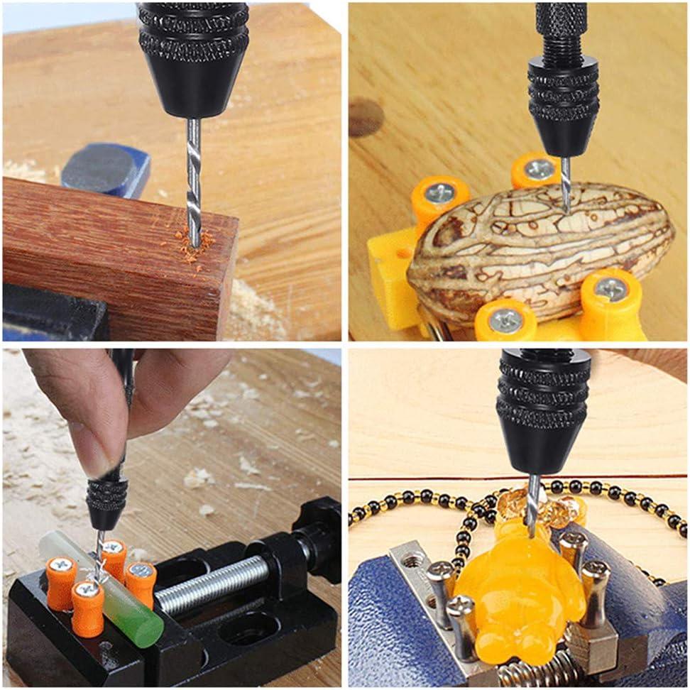 26PCS Pin Vise Hand Drill Set Holding 0.3-3.4mm Bits Swivel Head Pin Vise for Model Resin Jewelry Walnut Wood Craft