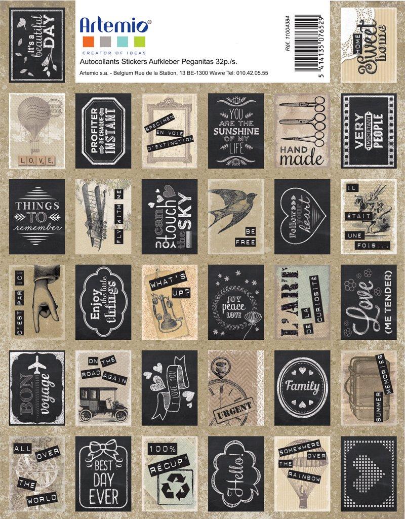 Artemio –  Adesivi Francobollo dé coratif-vintage-64 PCS, Carta, Nero, Beige, Grigio, 15,5 x 0,2 x 20 cm 5x 0 2x 20cm Artémio 11004384