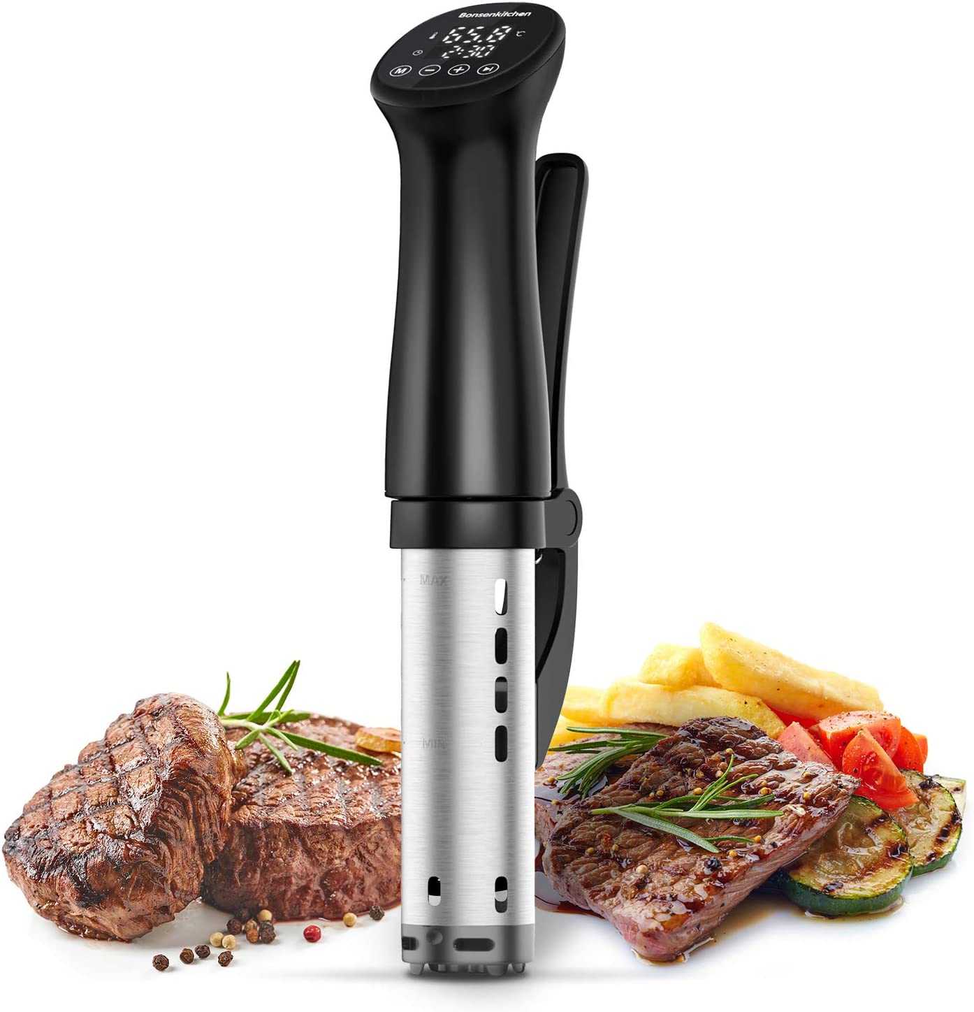 Sous Vide Precision Cooker 1200W Ultra-quiet,IPX7 Waterproof,Thermal Immersion Circulators with Big Digital Touchscreen Display,Control Temperature and Timer for Kitchen