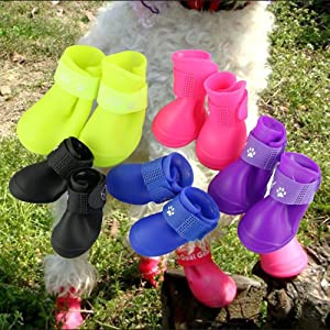 Cdycam Puppy Dogs Candy Colors Anti-Slip Waterproof Rubber Rain Shoes Boots Paws Cover