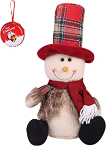 Christmas Plush Decor Dolls Sitting Shelf Snowman Figurine Holiday Xmas Party Flexible Ornaments Kids Stuffed Toy for Home Office Table with Coin Case