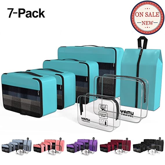 55911a3c78e767 ... Travel Luggage Organizer Bags Travel Accessories Including 2-pack  Waterproof Toiletry Bags and Shoe Bag for Women Men(7-Pcs)  Amazon.co.uk   Clothing