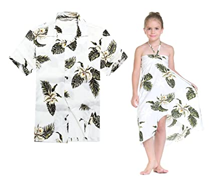 164c9887f637 Matching Hawaiian Luau Outfit Men Shirt Girl Dress in Palm Green at ...