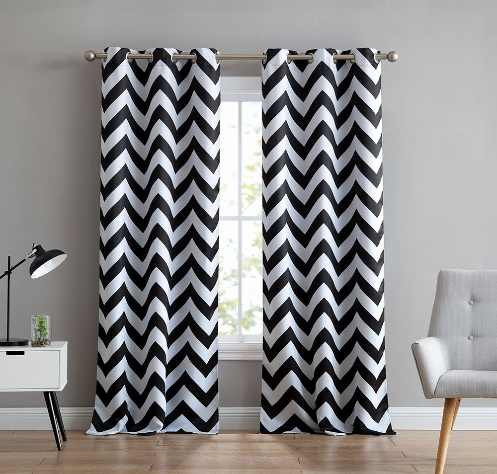 HLC.ME Chevron Print Thermal Insulated Room Darkening Blackout Window Curtain Panels for Living Room