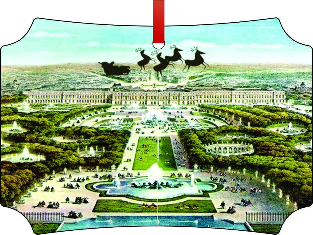 Santa and Sleigh Over the Palace of Versailles-TM Double-Sided Berlin Aluminum Holiday Hanging Tree Ornament. Made in the USA!