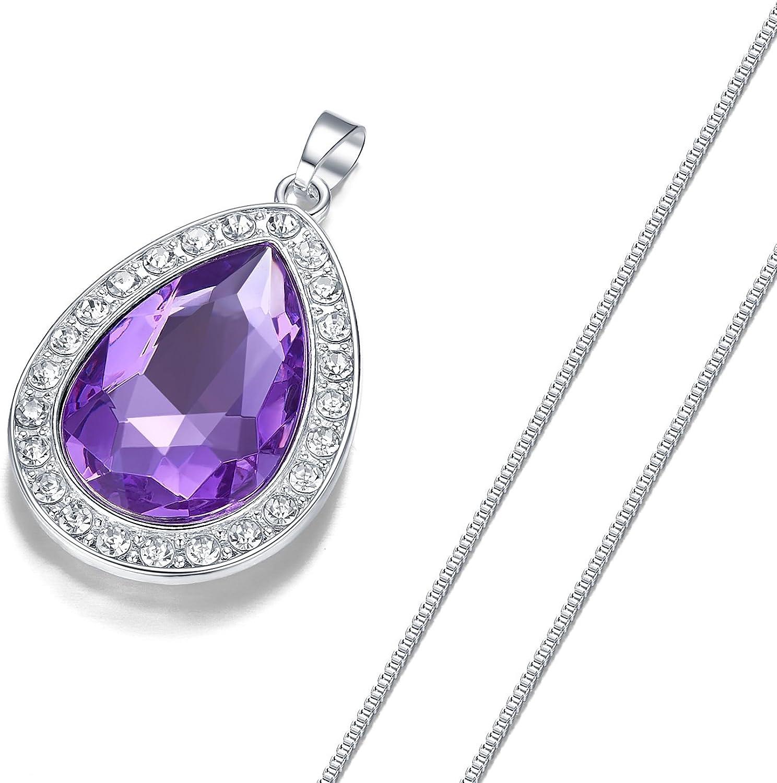 VCMART Collier Goutte deau en Cristal Violet Amulette Fashion Jewelry Cadeau pour Fille