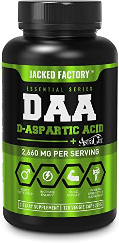 DAA D Aspartic Acid Supplement – Fortified with Astragin for Enhanced Absorption, Zero Artificial Fillers – 120 Veggie Capsule Pills