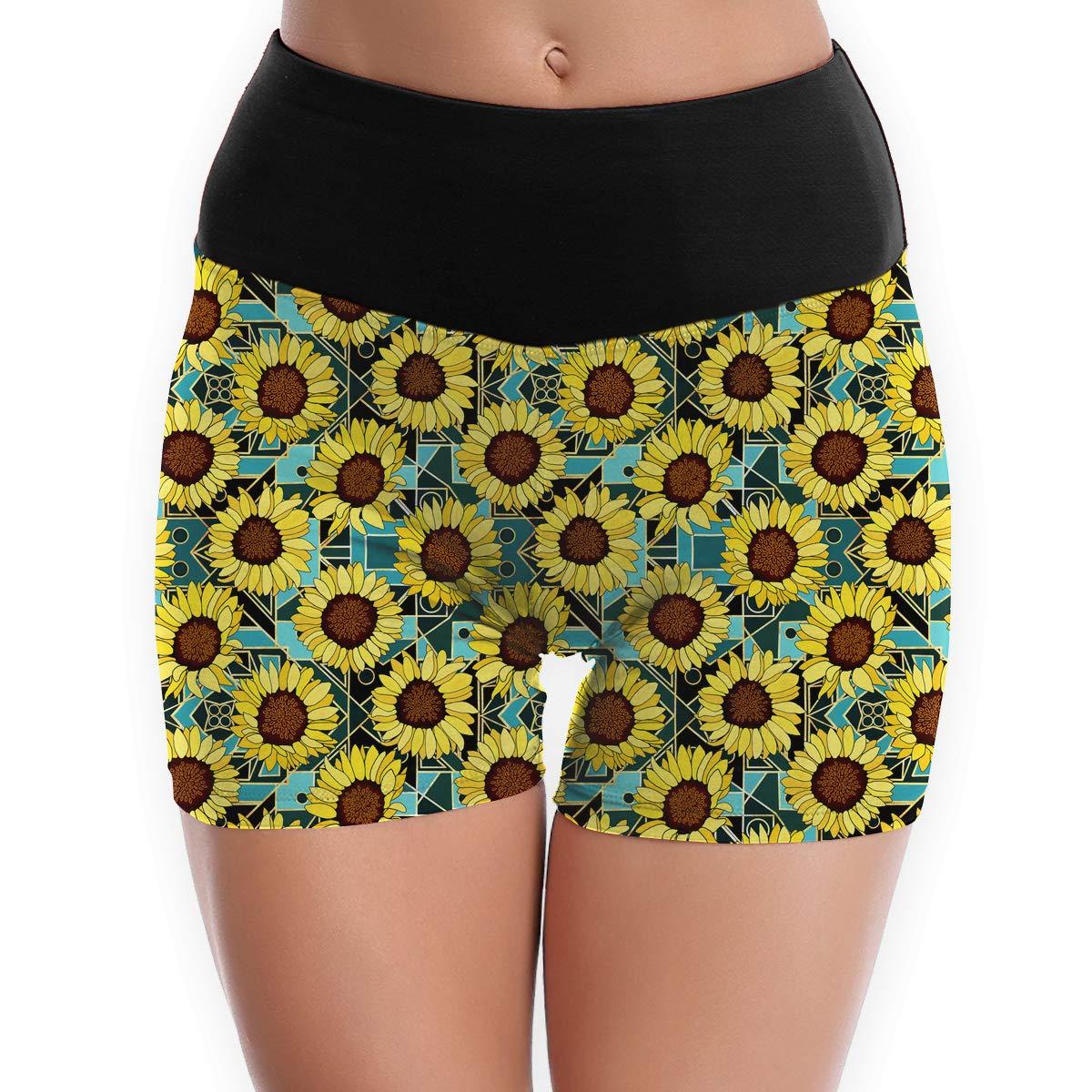 Matbt SunflowersArt Deco GoldTeal Big Yoga Tights Short Running Pants Workout