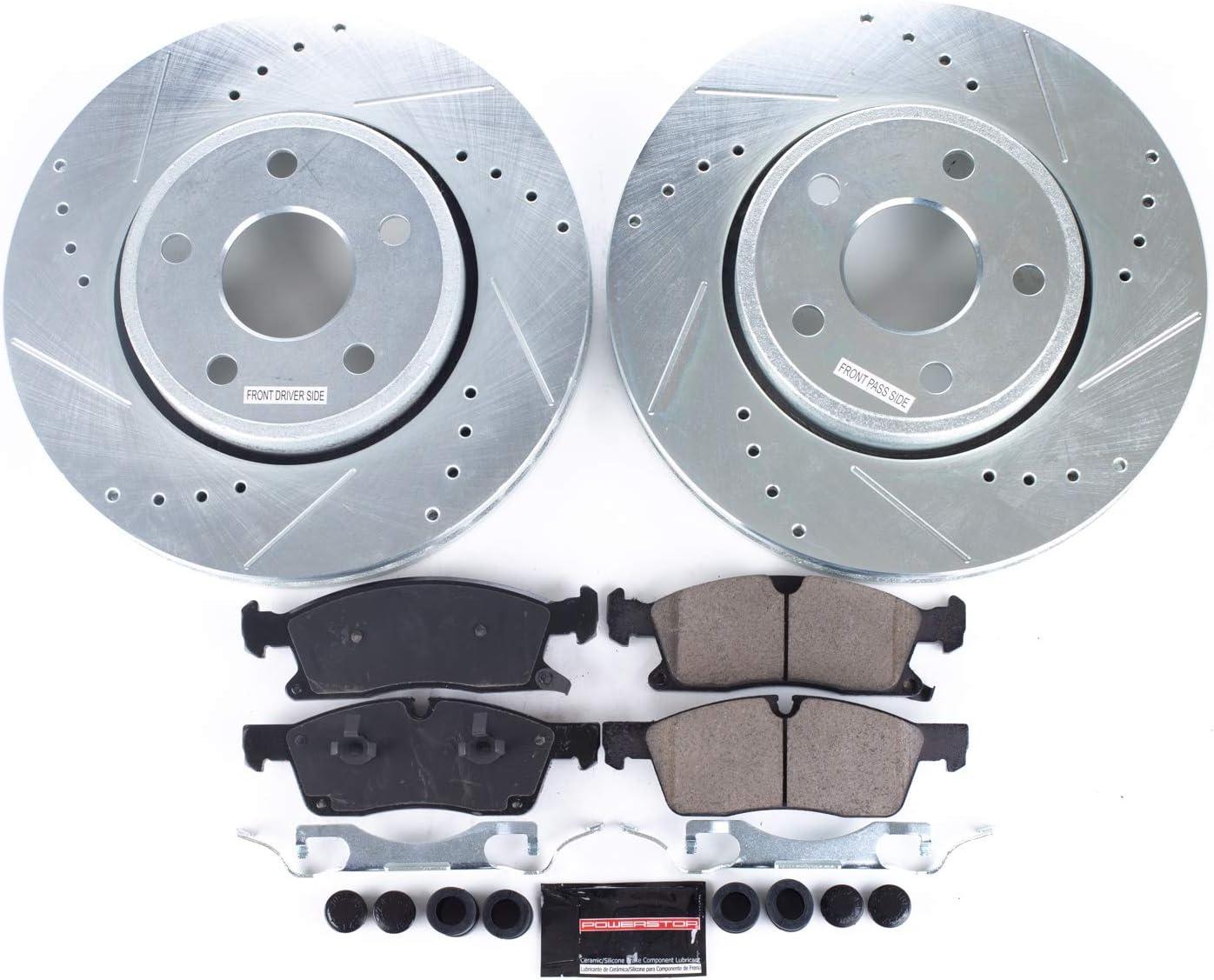 Max Brakes Front /& Rear Supreme Brake Kit KM152723 Fits: 2015 15 Jeep Grand Cherokee w//350mm Front Rotors /& Rear Vented Rotors Premium Cross Drilled Rotors + Ceramic Pads