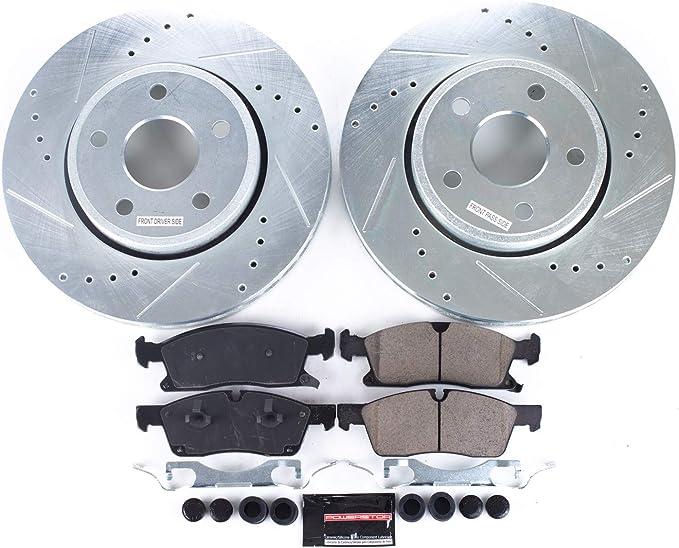 Power Stop K1071 Front /& Rear Brake Kit with Drilled//Slotted Brake Rotors and Z23 Evolution Ceramic Brake Pads