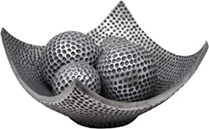 Seraphic 5-Piece Centerpiece Decorative Scoop Bowl with Balls/Orbs for Table Home Decor (Silver)
