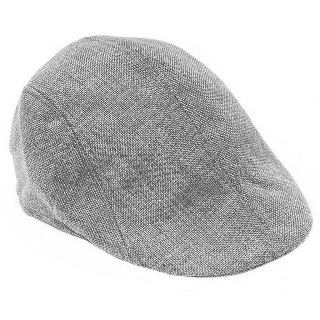 Ukerdo Summer Flax Duckbill Flat Cap Cabbie Newsboy Fitted Hats for Men-Grey