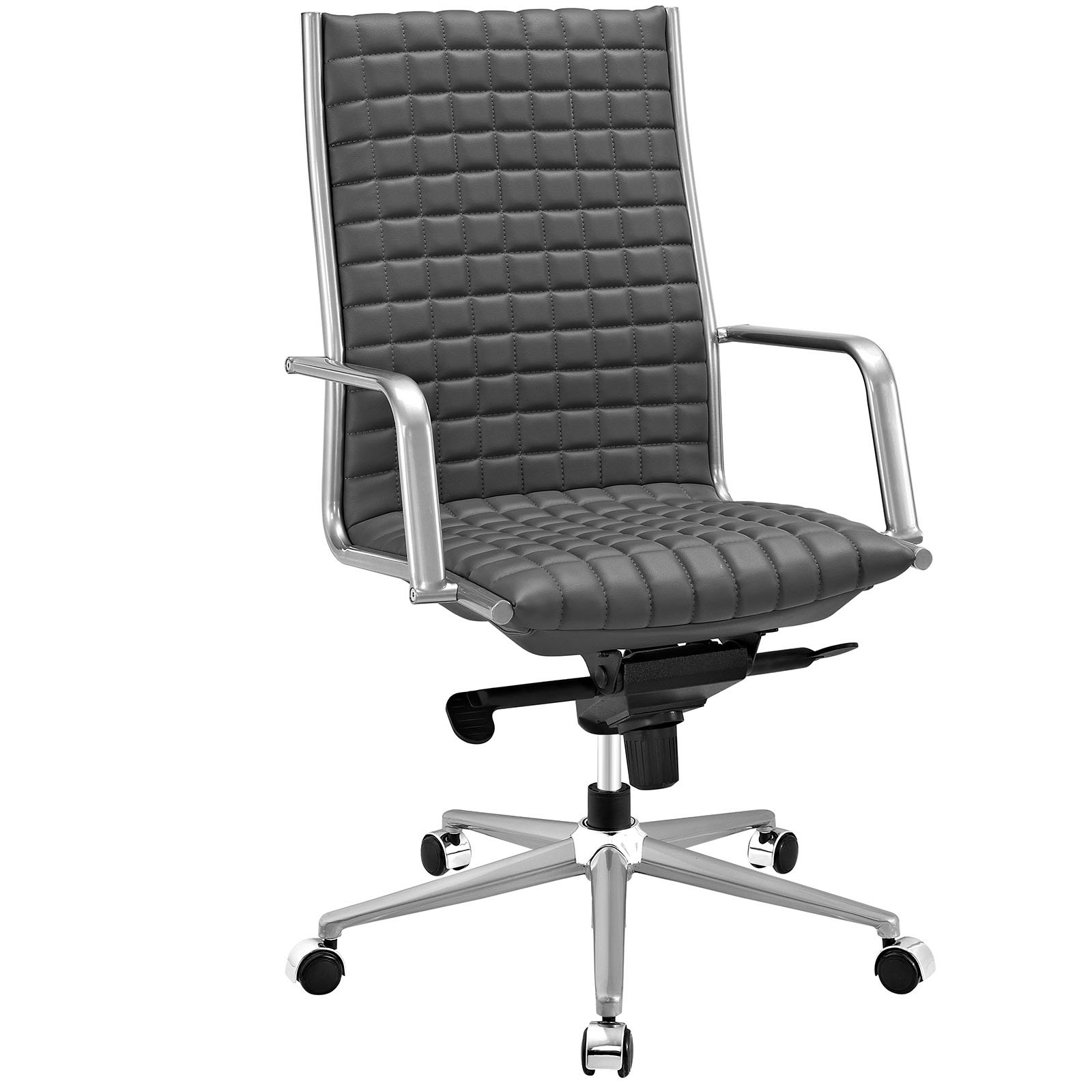 Modway Pattern Faux Leather Highback Managerial Office Chair in Gray
