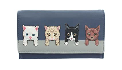 Mala Leather Colección Best Friends Monedero de Cuero de Gatos en una Pared 3417_65 Azul Marino