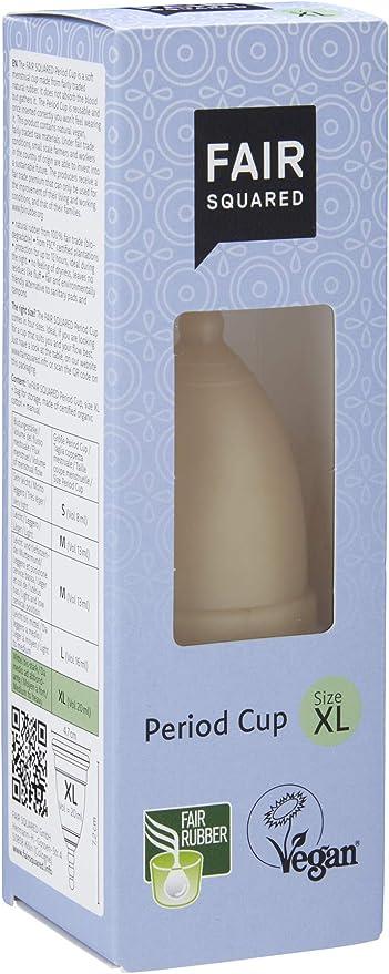 FAIR SQUARED Copa mestrual de Látex 100% Natural FSC XL. 20 ml, Negro, Talla Única