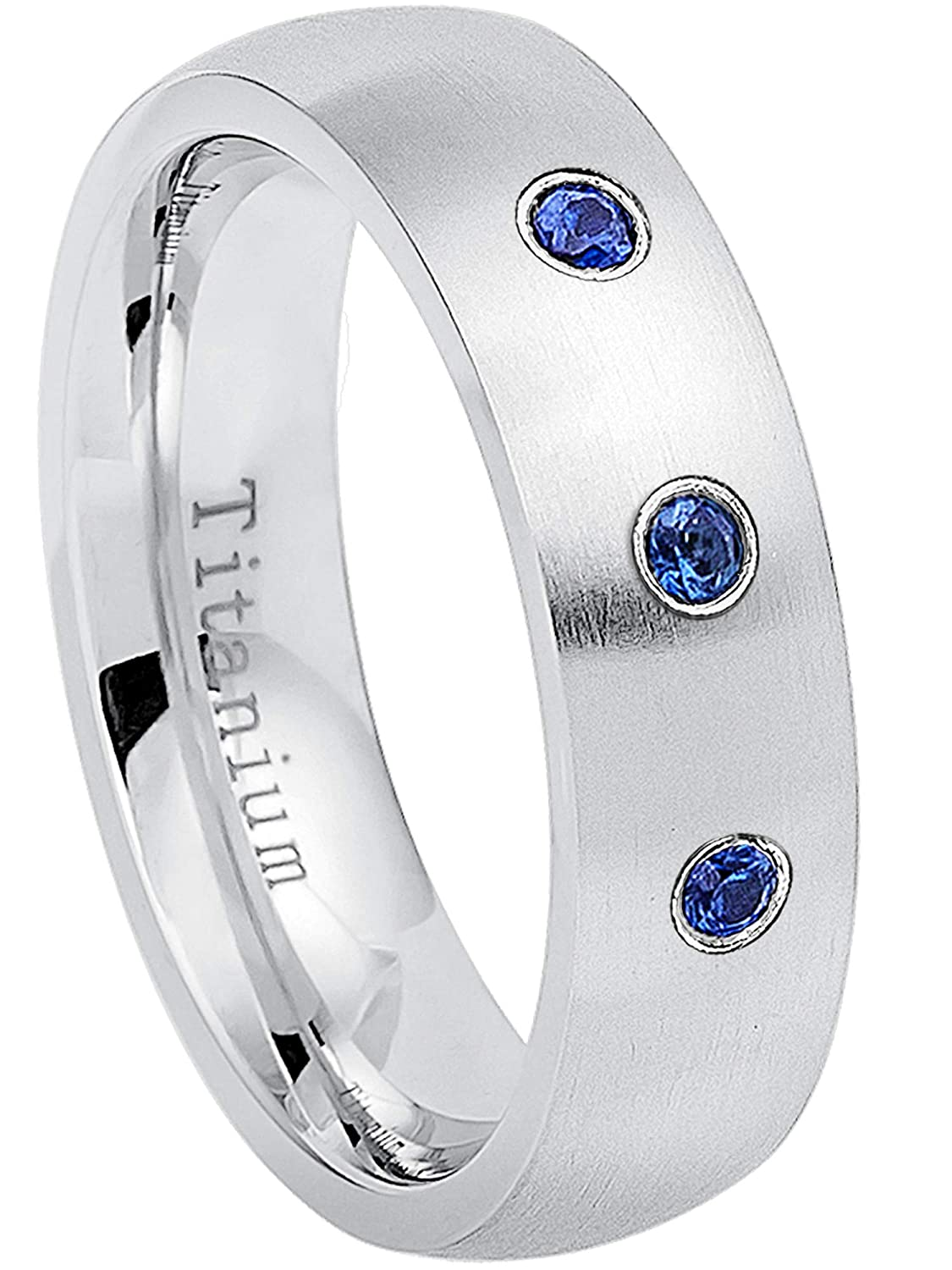 September Birthstone Ring 6MM Brushed Finish Comfort Fit Classic Dome White Wedding Band 0.21ctw Blue Sapphire 3-Stone Titanium Ring