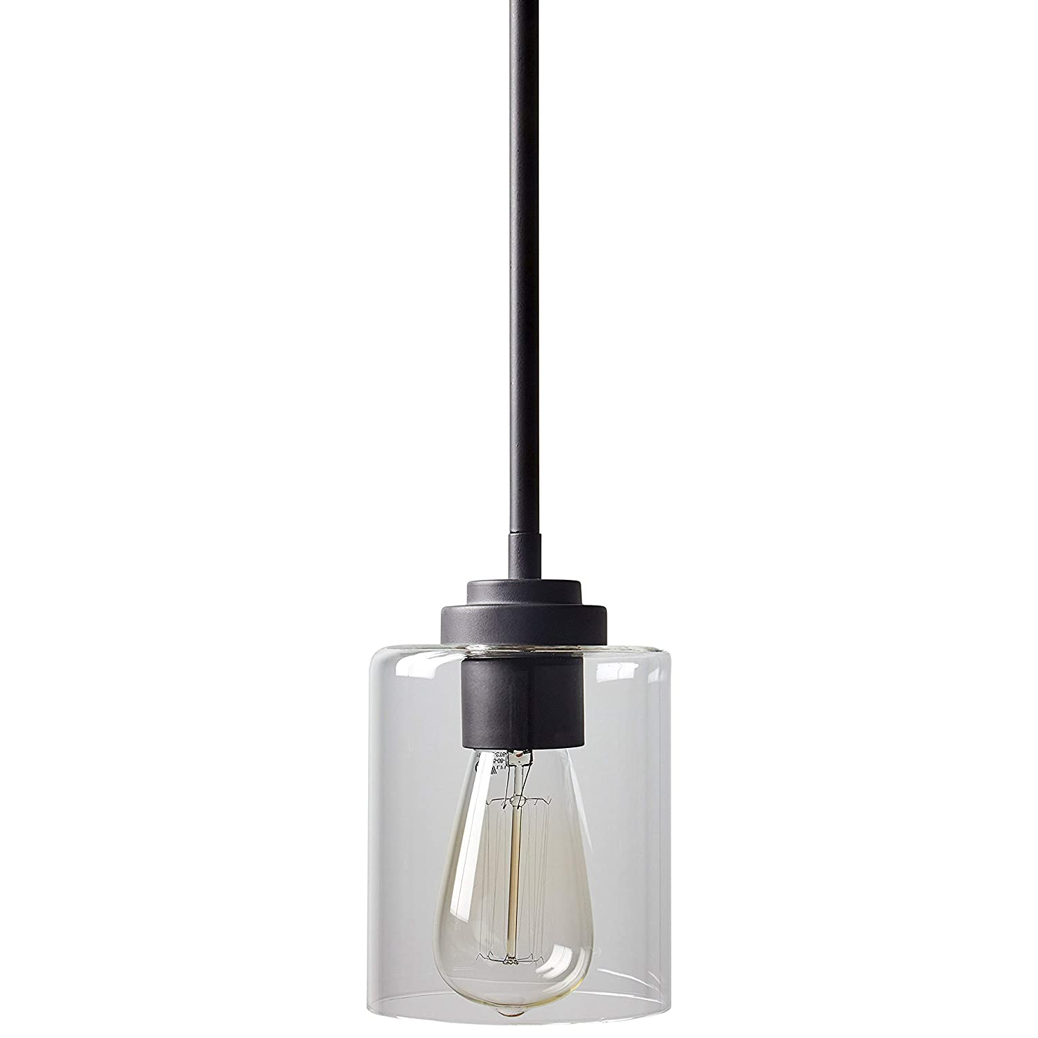 "Stone & Beam Modern Cylinder Pendant Light With Bulb, 10""-58""H, Oil-Rubbed Bronze"