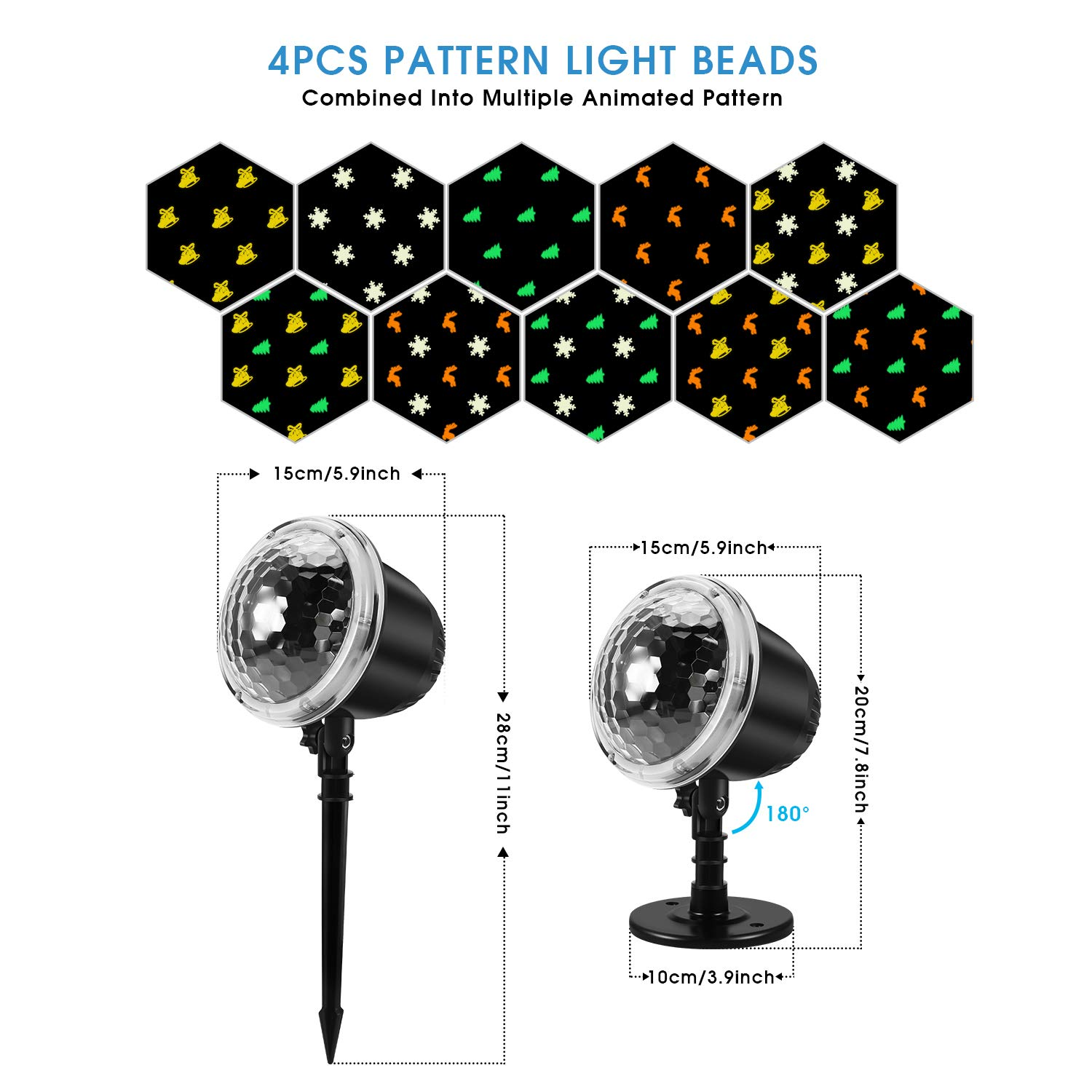 Christmas Projector Lights KINGWILL Indoor Outdoor Holiday Lights with Remote Control 4Pcs Pattern Light Bead for Xmas Home Party Garden Landscape Wall Decorations